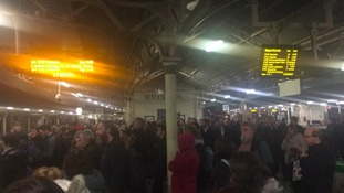 The scene this evening at Bristol as passengers await services towards Devon and Cornwall.