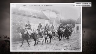 Moroccans soldiers are seen travelling through northern France