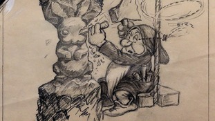 A copy of a never before seen original artwork pencil drawing from Walt Disney's 'Snow White and the Seven Dwarfs' movie