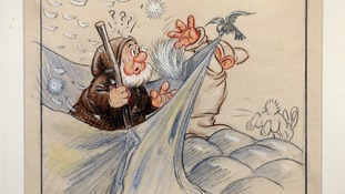A copy of a never-before-seen original artwork pencil drawing from Walt Disney's 'Snow White and the Seven Dwarfs' movie from 1937