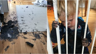Toddler, 2, breaks free of baby gate and covers mum's house with black paint