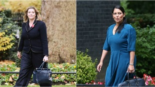 Penny Mordaunt (left) is replacing Priti Patel (right).