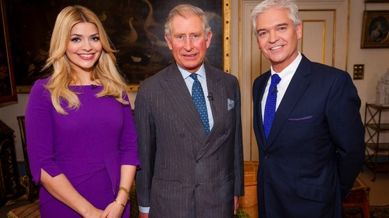 This Morning hosts Holly Willoughby and Phillip Schofield pictured with Prince Charles at Clarence House.