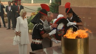 Prince Charles lays a wreath to India's fallen soldiers