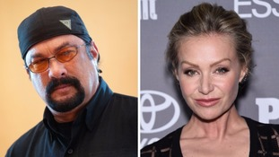 Portia de Rossi claims Steven Seagal unzipped his leather trousers in his office.