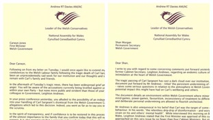 Letters sent by Welsh Conservative leader Andrew RT Davies