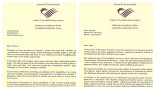 Letters from Andrew RT Davies to the Permanent Secretary and First Minister