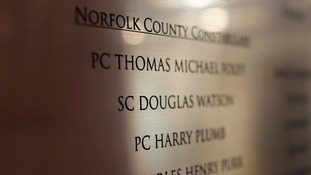 The plaque at Norfolk Police HQ