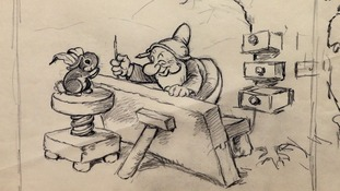 A copy of a never before seen original artwork pencil drawing from Walt Disney's 'Snow White and the Seven Dwarfs' movie from 1937