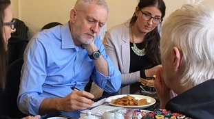 Jeremy Corbyn (left),  Laura Pidock MP (right)