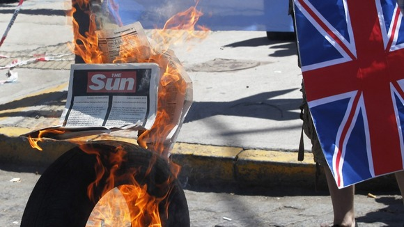 The advert taken out by The Sun burns in Argentina