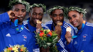 Darren Campbell (second right) was part of Team GB's 2004 4x100m gold medal winning team