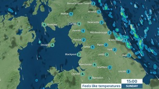 Cold and clear for most on Sunday.  Raw wind.  Shower risk for the coast
