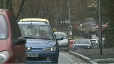 Long tail backs during the rush hour in Colwyn Bay