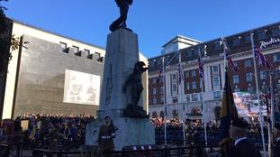 Crowds surround Leeds war memorial
