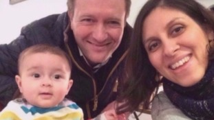 Mrs Zaghari-Ratcliffe with her husband Richard and daughter Gabriella.