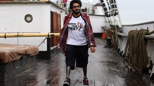 Paul Johnson, 24, feared he would not walk again after losing both legs in an accident.
