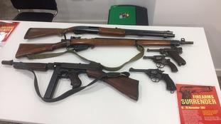 Surrendered guns at West Midlands Police HQ.
