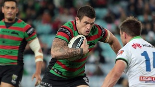 Luke in action for South Sydney Rabbitohs in the NRL, where he played alongside brothers Sam, George and Tom