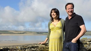 David and Samantha Cameron pictured near Daymer Bay just days before the birth of their daughter Florence.