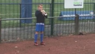 World Cup winner's 11-year-old great nephew delivers a rendition of the last post