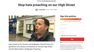 The change.org petition to ban Michael Overd from preaching in Taunton town centre.