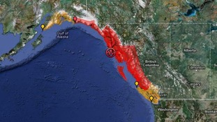 Tsunami warnings  issued for the west coast of Alaska and Canada