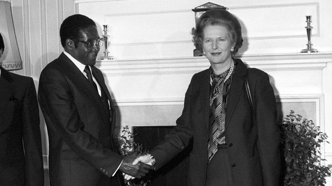 Robert Mugabe meets with Margaret Thatcher