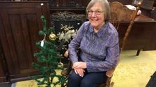 Diana Rigby and one of the UK's oldest artificial Christmas trees