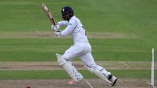 Shiv Thakor batting for Derbyshire Cricket Club.