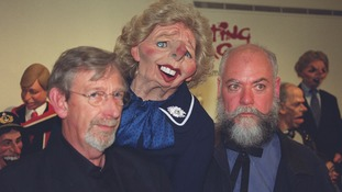 The Spitting Image creators Peter Fluck and Roger Law with a puppet of Baroness Thatcher in 2000
