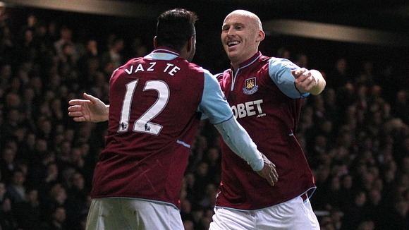 Ricardo Vaz Te congratulates James Collins on his equaliser