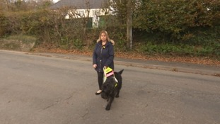 Debra and her guide dog Crystal.