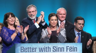Gerry Adams and Martin McGuinness (second right) at the Ard Fheis.