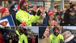 Town turns out to welcome Mark Solan home from 270-mile challenge