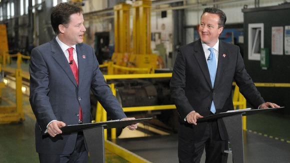 Prime Minister David Cameron and Deputy Prime Minister Nick Clegg joined coalition forces in 2010.