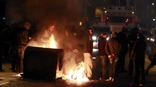 A burning barricade on the Newtownards road area of Belfast.