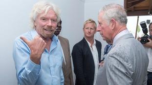 The Prince was met by billionaire Virgin boss Sir Richard Branson