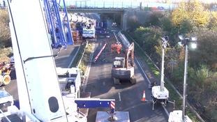 Crews work around the clock on repairing bridges over the A47
