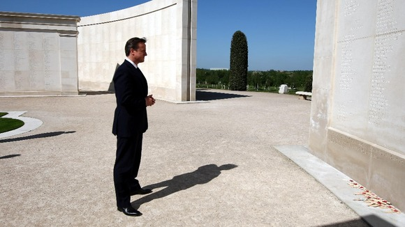 David Cameron visits the Falklands Memorial at the National Memorial Arboretum