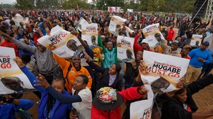 Anti-Mugabe protesters took to the streets of Zimbabwe on Saturday.