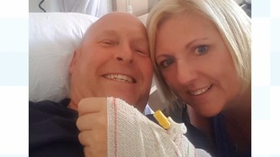Keith in hospital with wife Linda