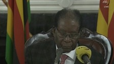 President Mugabe addresses Zimbabwe in a televised speech.