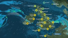 Cloudy skies with outbreaks of rain and drizzle