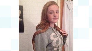 Rebecca's daughter Shayley with Charlie the snake