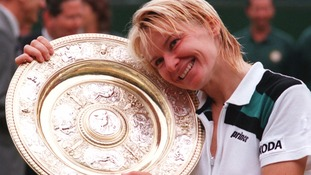 Jana Novotna after winning the Ladies Final match at Wimbledon in 1998.