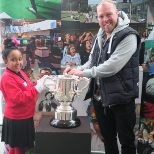 The schoolchildren handled some of the National Football Museum's most prized memorabilia