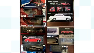 Some of the valuable collection of models stolen by burglars.