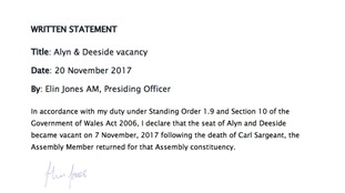 Written statement formally declaring a vacancy in Alyn And Deeside