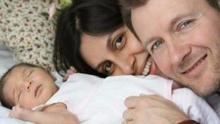 Nazanin Zaghari-Ratcliffe with her husband Richard and daughter.